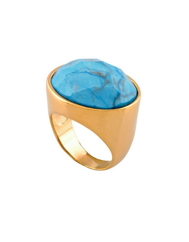 Alex Fraga 24K Yellow Gold Inlay Turquoise Ring-AMETHYST-7