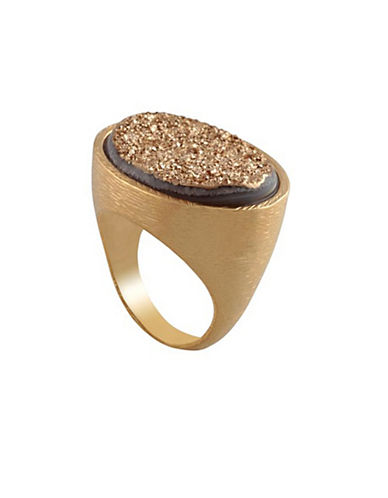 Alex Fraga Druzy 18K White Gold Inlay Ring-GOLD-7
