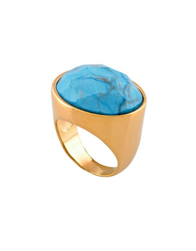 Alex Fraga 24K Yellow Gold Inlay Turquoise Ring-TURQUOISE-7