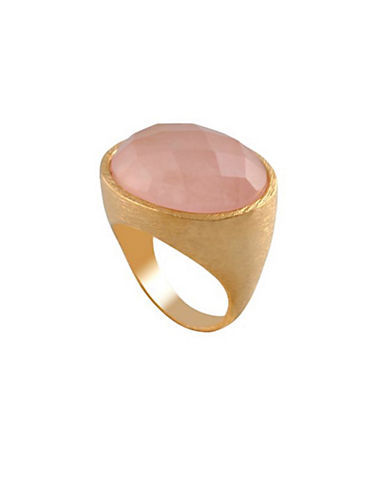 Alex Fraga 24K Yellow Gold Inlay Turquoise Ring-PINK-7