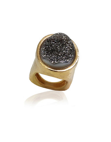 Alex Fraga Titanium Drusy Gemstone Ring-GOLD-7