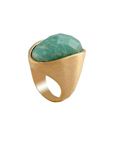 Alex Fraga Amazonite Faceted Gem Dipped and Brushed in 24K Gold-GREEN-7