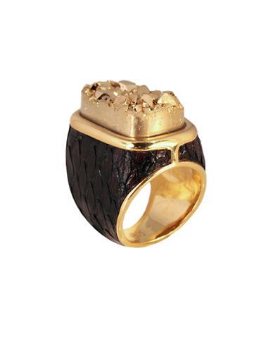 Alex Fraga 24K Yellow Gold Inlay Druzy Python Wood Ring-GOLD-7
