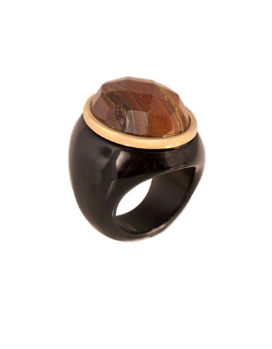 Alex Fraga Faceted Citrine and Black Onyx Ring-BROWN-8