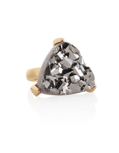 Alex Fraga Platinum Druzy 24KT Gold Sterling Silver Inlay Ring-TWO TONE-7