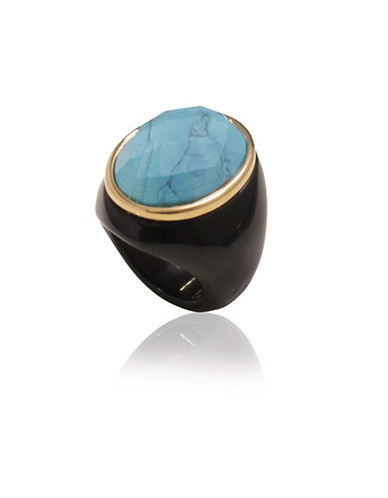 Alex Fraga Faceted Turquoise on Polished Onyx Ring-TURQOISE-8