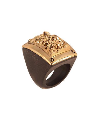 Alex Fraga 24K Yellow Gold Druzy Wood Ring-GOLD-7