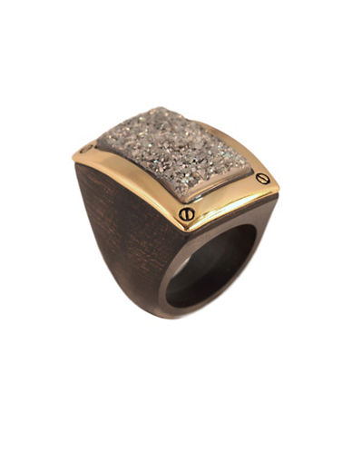 Alex Fraga 24K Yellow Gold Druzy Wood Ring-SILVER-7