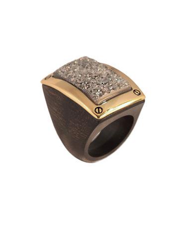 Alex Fraga 24K Yellow Gold Druzy Wood Ring-SILVER-6
