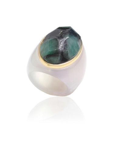 Alex Fraga Faceted Oval-Cut Emerald on Dolomite Ring-GREEN-8