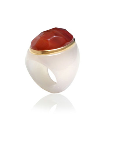 Alex Fraga Faceted Oval-Cut Carnelian on Dolomite Ring-RED-8