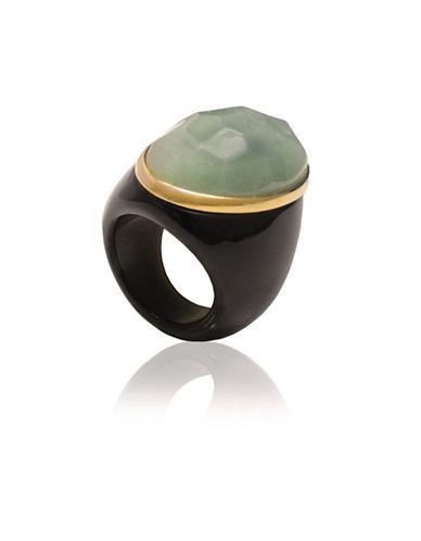 Alex Fraga Faceted Oval-Cut Green Onyx on Black Onyx Ring-GREEN-8