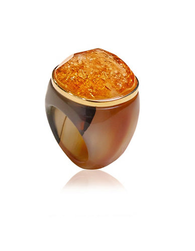 Alex Fraga Citrine Gemstone and Agate 18K Gold Ring-YELLOW-8