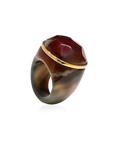 Image of Alex Fraga 24K Gold and Inlaid Dolomite Stone Agate Ring-RED-8