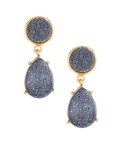 Image of Alex Fraga 18K Gold Inlay Druzy Drop Earrings-BLUE-One Size