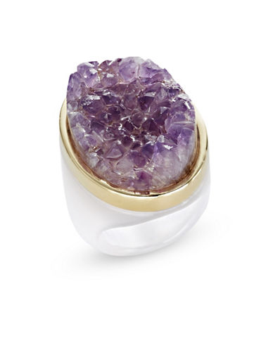 Alex Fraga Faceted Oval-Cut Citrine on Onyx Ring-LAVENDER-8