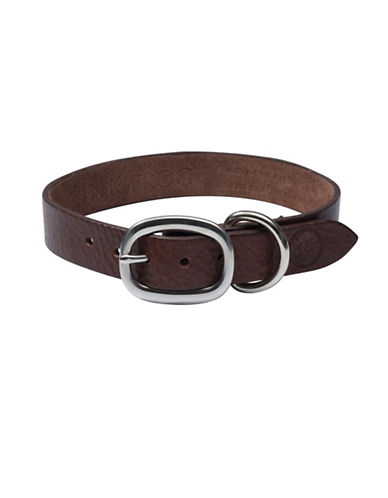 Pink Frog Volanoto Leather Dog Collar-BROWN-Large