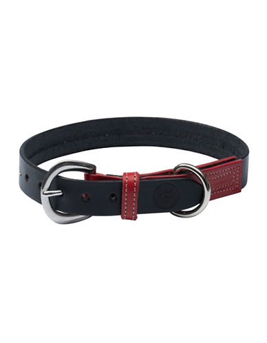 Pink Frog English Bridle Leather Dog Collar-RED-Medium