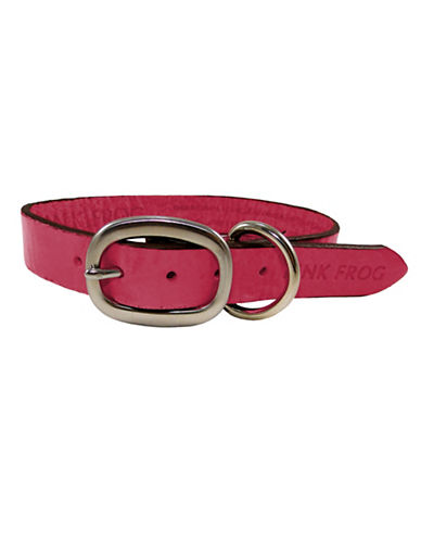 Pink Frog Volanoto Leather Dog Collar-PINK-Medium