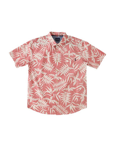 Jack ONeill Pool Side Regular-Fit Leaf-Print Poplin Shirt-RED-X-Large