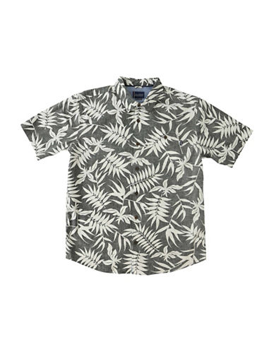 Jack ONeill Pool Side Regular-Fit Leaf-Print Poplin Shirt-GREY-Medium