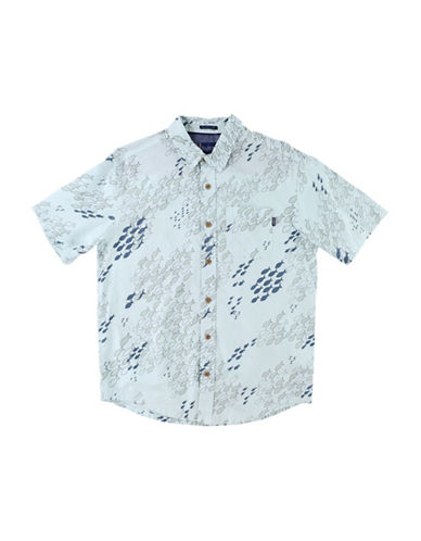 Jack ONeill Schoolin Short Sleeve Linen Blend Woven Shirt-ICE BLUE-Large