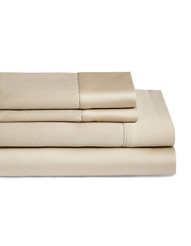 Monaco 600 Thread Count Cotton Four-Piece Queen Size Sheet Set-NATURAL-King