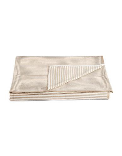 Marc O Polo Striped Cotton Throw-SAND-One Size