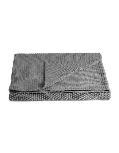 Marc O Polo Striped Cotton Throw-GREY-One Size