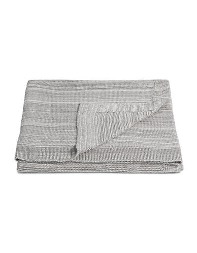 Marc O Polo Cotton Melange Knit Throw-GREY-One Size