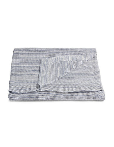 Marc O Polo Cotton Melange Knit Throw-BLUE-One Size