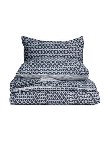 Marc O Polo Geometric Print Three-Piece Cotton Duvet Cover Set-BLUE-King