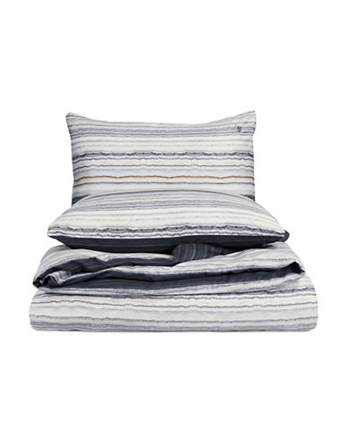 Marc O Polo Paint Striped Three-Piece Cotton Duvet Cover Set-MULTI-Queen