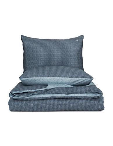 Marc O Polo Geometric Print Three-Piece Cotton Duvet Cover Set-SMOKE BLUE-King