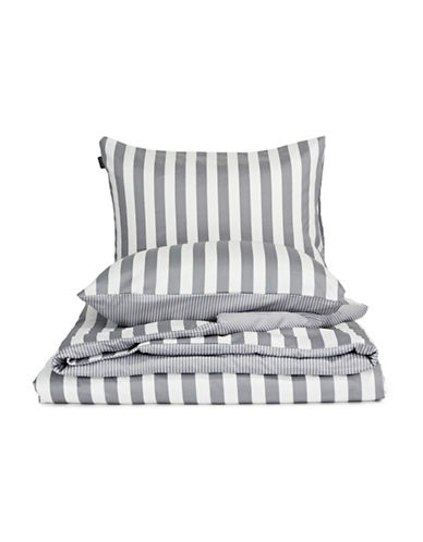 Marc O Polo Striped Three-Piece Cotton Duvet Cover Set-GREY-Queen