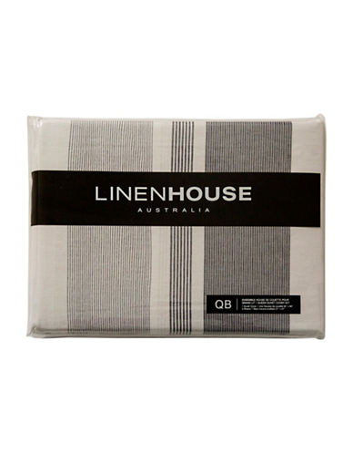 Linen House Three-Piece Calais Duvet Cover Set-LIGHT GREY-Double