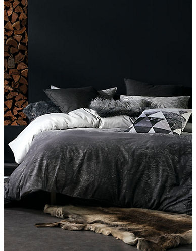 Linen House Three-Piece Aspen Magnet Duvet Cover Set-DARK GREY-Double