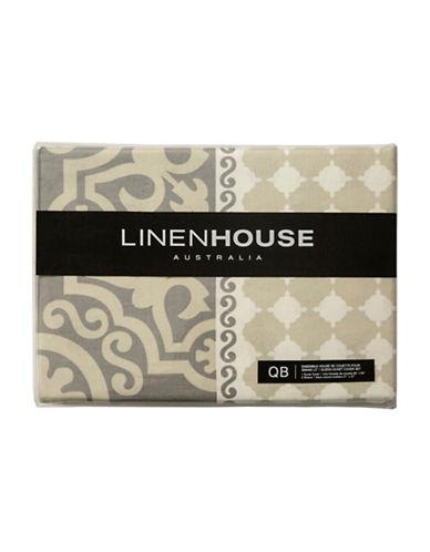 Linen House Three-Piece Cubana Duvet Cover Set-LIGHT GREY-King