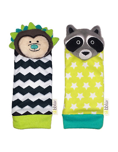 Bbluv Duo Foot Finders Hedgehog and Raccoon Socks-WHITE-One Size