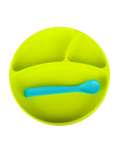 Bbluv Miam Two-Piece Silicone Plate and Spoon Set-LIME-One Size