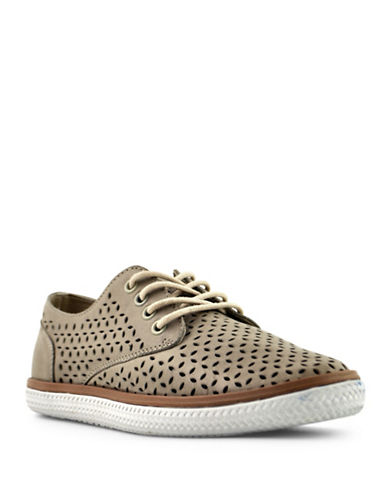 Royal Canadian Lotus Leather Perforated Sneakers-TAUPE-8