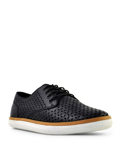 Royal Canadian Lotus Leather Perforated Sneakers-BLACK-7.5