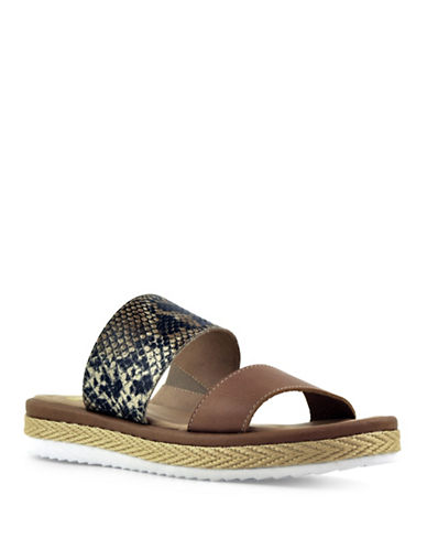 Royal Canadian June Snakeskin-Embossed Leather Sandals-HONEY-8
