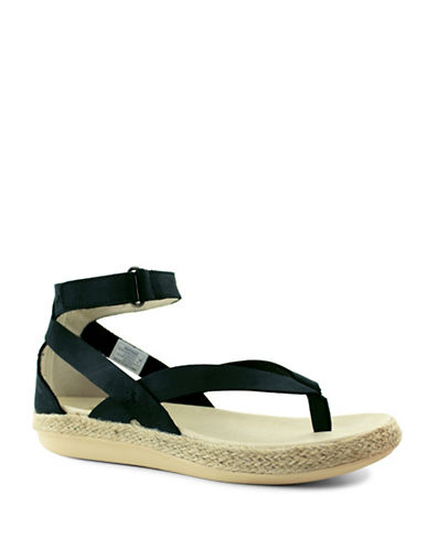 Royal Canadian Peace River Ankle Strap Espadrille Thong Sandals-BLACK-6.5
