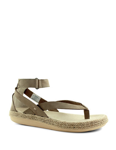 Royal Canadian Peace River Ankle Strap Espadrille Thong Sandals-TAUPE-7