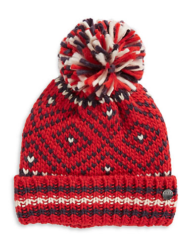Rella Nordic Jewel Cuff Wool-Blend Beanie-RED-One Size