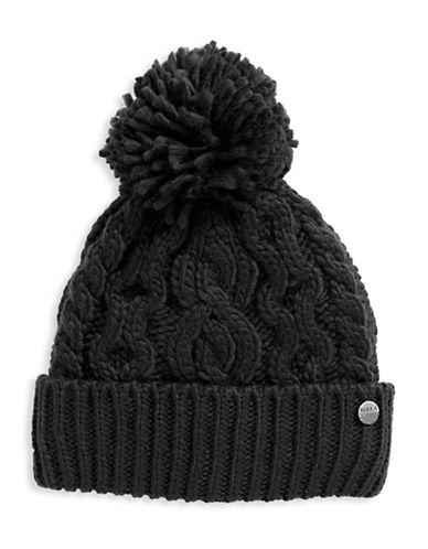 Rella Wool Knit Hi Rise Pom Pom Hat-BLACK-One Size