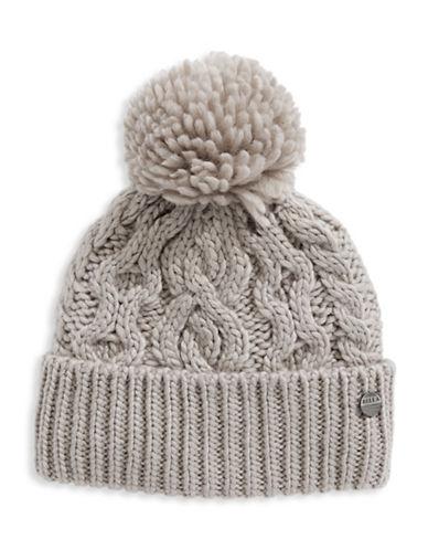 Rella Wool Knit Hi Rise Pom Pom Hat-GREY-One Size