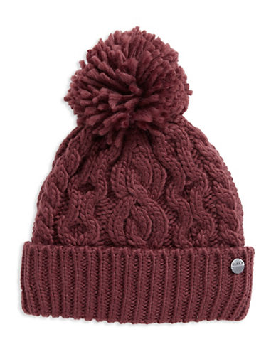 Rella Wool Knit Hi Rise Pom Pom Hat-RED-One Size