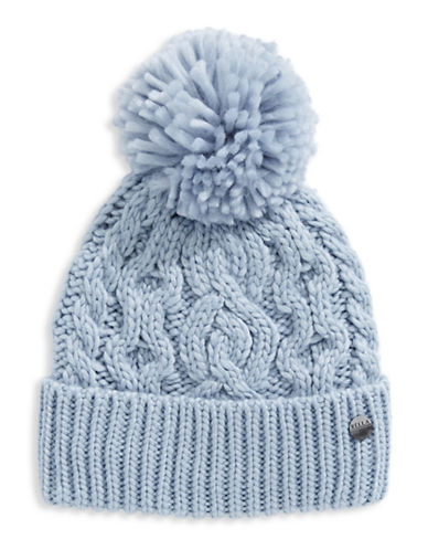 Rella Wool Knit Hi Rise Pom Pom Hat-BLUE-One Size